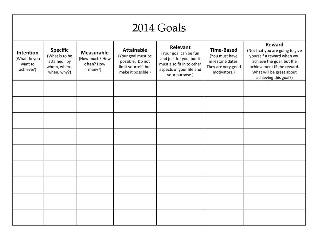 life goals worksheet
